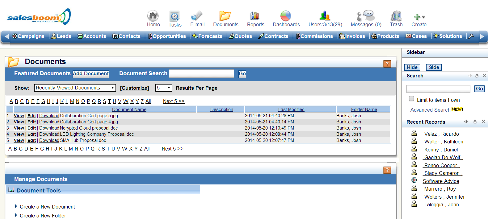 CRM Document Management Software ScreenshotS