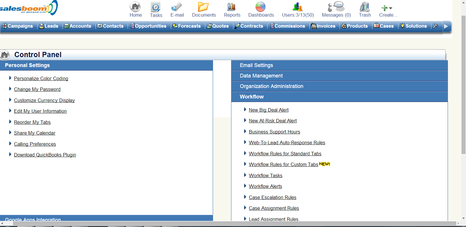 CRM Workflow & Business Process Automation Software Screenshot