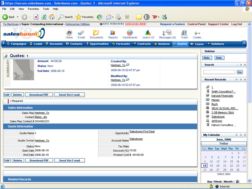 Quote & Proposal Management Software : Cloud Crm Screen Shots